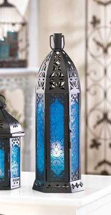 Tall Ocean Blue Candle Lantern
