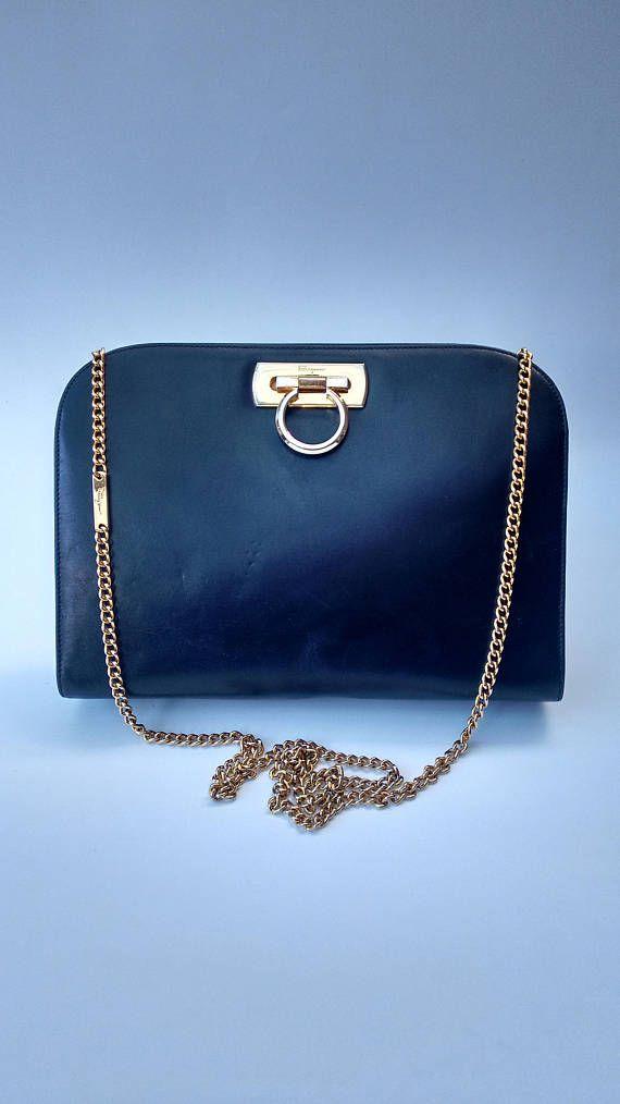 13277edd93 SALVATORE FERRAGAMO Vintage Gancini Navy Dark Blue Leather ...