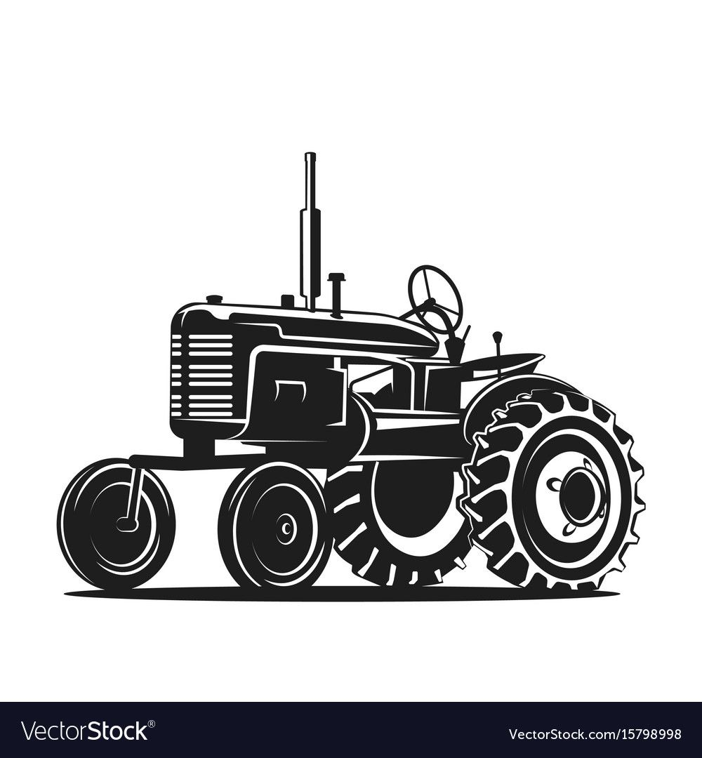 Old Tractor On White Background Vector Illustration Download A Free Preview Or High Quality Adobe Illustrator Ai Eps Tractor Silhouette Old Tractor Tractors