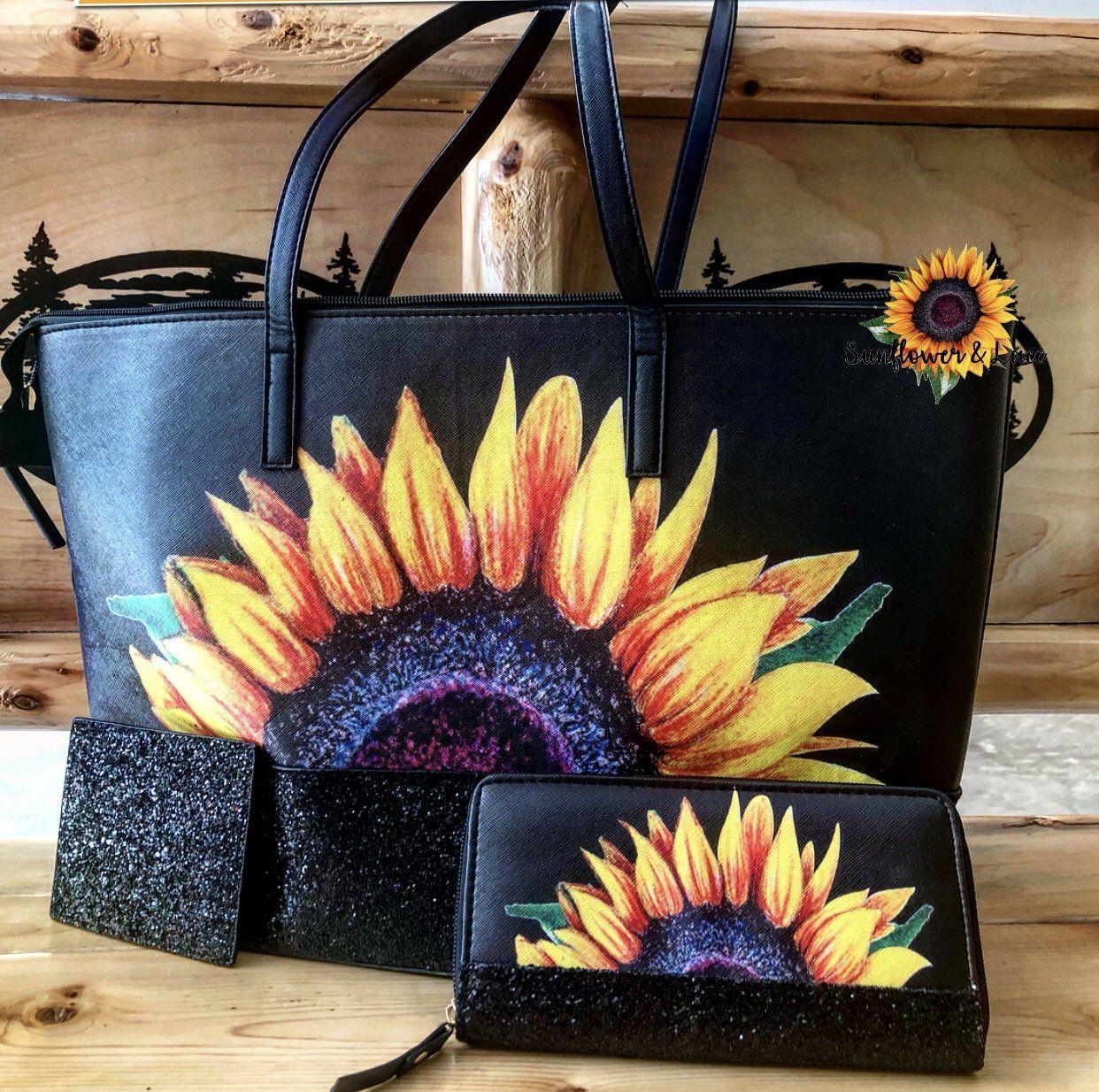Glitter sunflower purse wallet in 2019 Tote purse