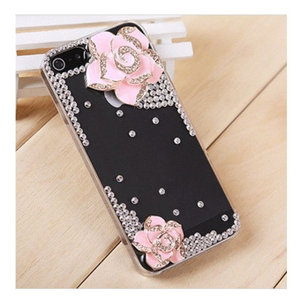 Pink flower iphone 5 cases,iphone cases-transparent bling camellia... ($9.99) ❤ liked on Polyvore