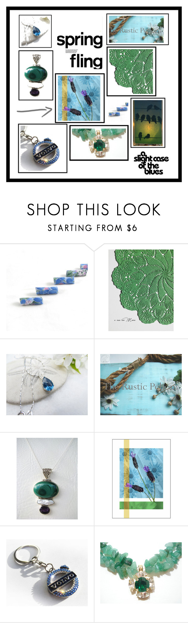 """""""Blue Meets Green"""" by whimzingers ❤ liked on Polyvore featuring etsy, jewelry, art and decor"""