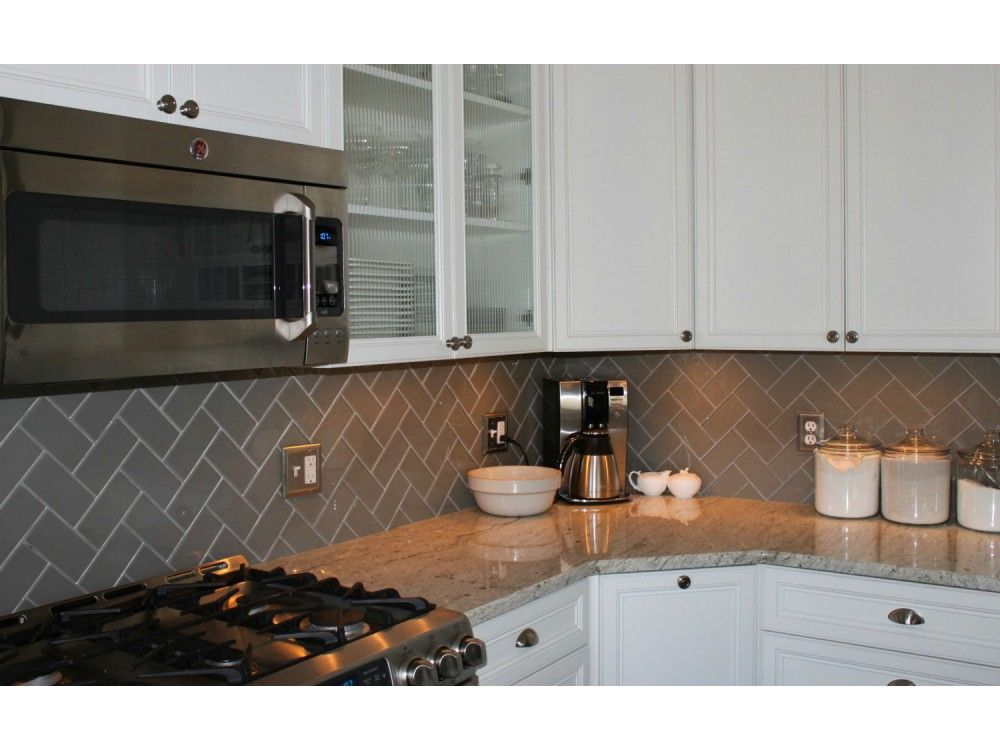 Kitchen Backsplash Subway Tile Patterns lush 3x6 taupe glass subway tile in herringbone pattern | mgu