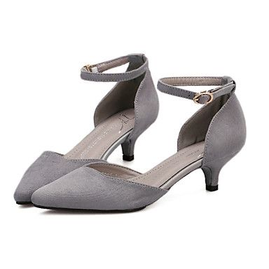 Shoes For Women Low Heel Pointed Toe Pumps Heels Casual Black Gray