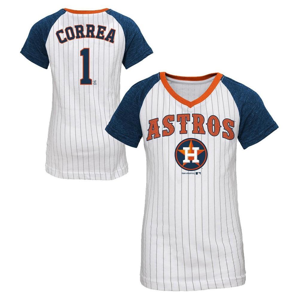separation shoes ef4c0 dbfa4 Houston Astros Girls' Carlos Correa Pinstripe T-Shirt Jersey ...