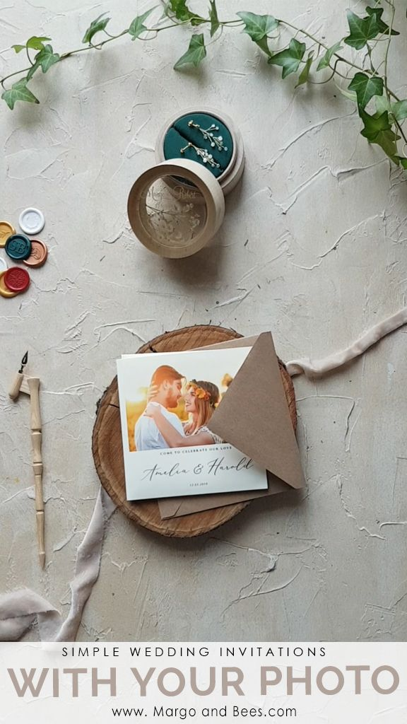 Rustic wedding invitations with your photo #rusticweddinginvitations #rusticweddinginvitations #simpleinvitations #weddinginvitationswithphotography #summerwedding #romanticbride