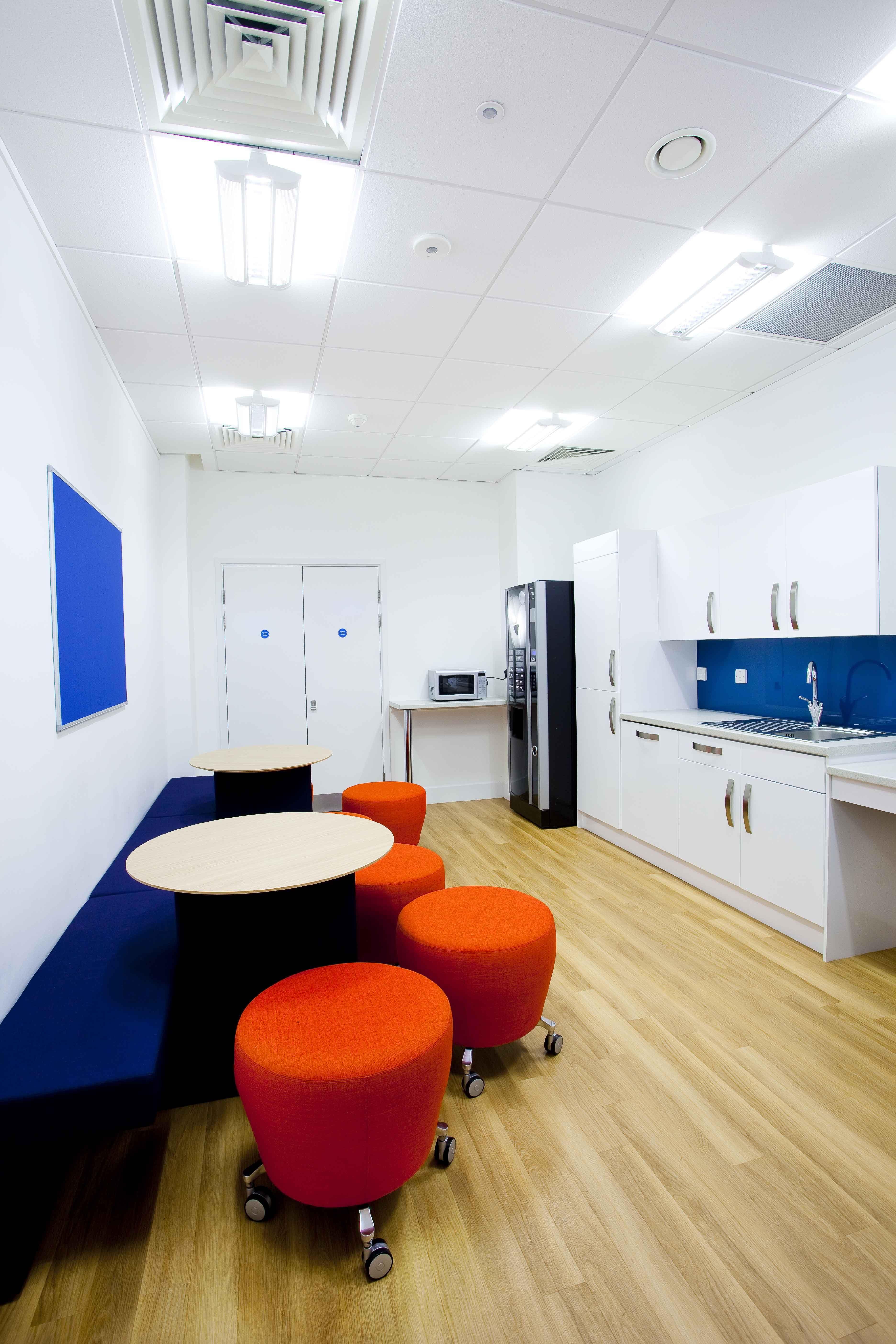Staff kitchen, Dining area, Interior design, Fit-out, Office space ...