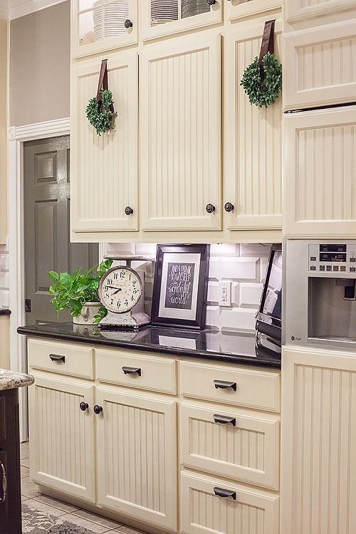 kitchen cabinet reface center island table adding bead board and molding to my cabs like this ...