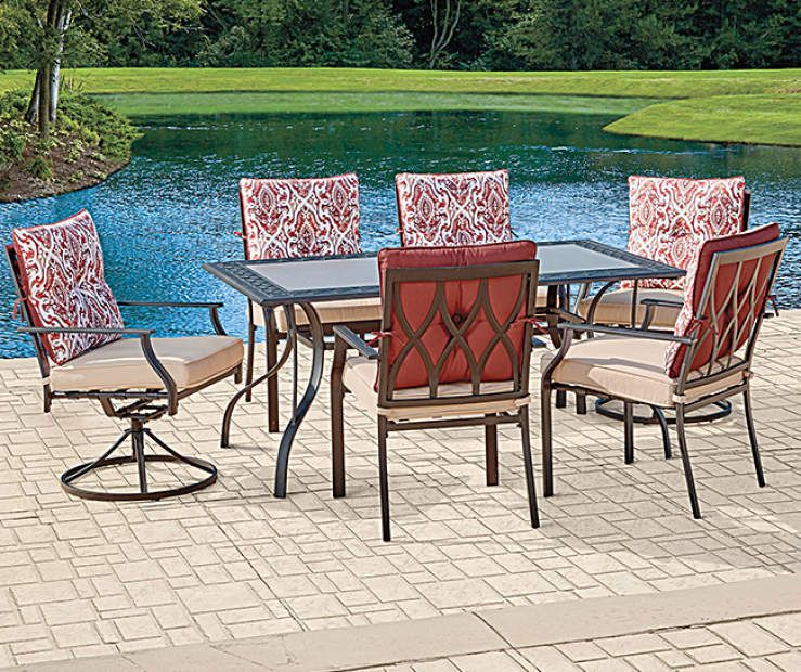 Wilson Fisher Cypress Point 7 Piece Dining Set Big Lots Outdoor Patio Furniture Sets 7 Piece Dining Set Outdoor Dining Chairs