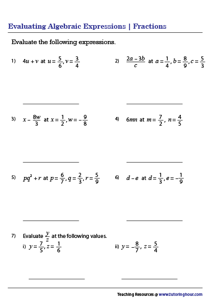 Evaluating Algebraic Expressions Worksheets In 2020 Algebraic Expressions Evaluating Algebraic Expressions Algebra Worksheets