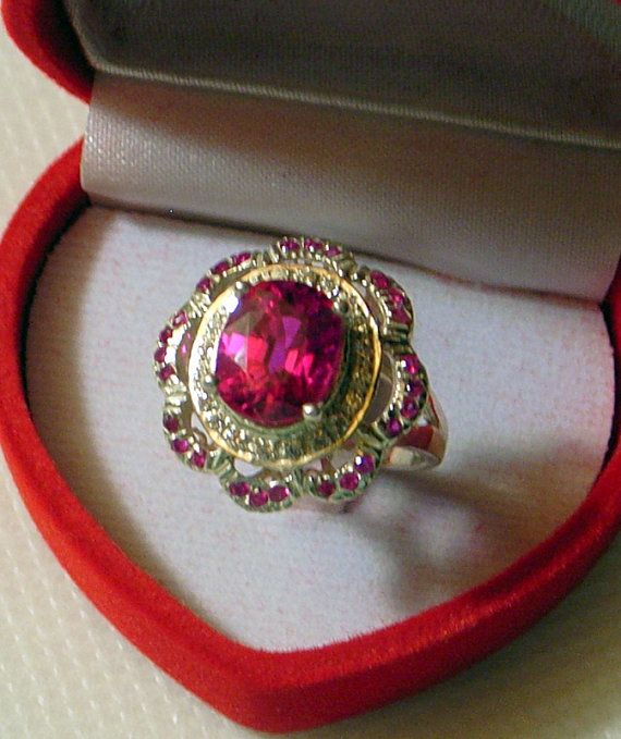 Pink Topaz Ring - Size 6 - With Little Rubies And White Sapphires - SALE - Sterling Silver - Deep Rose Pink - Love Ring For Your Sweetheart on Etsy, $149.00