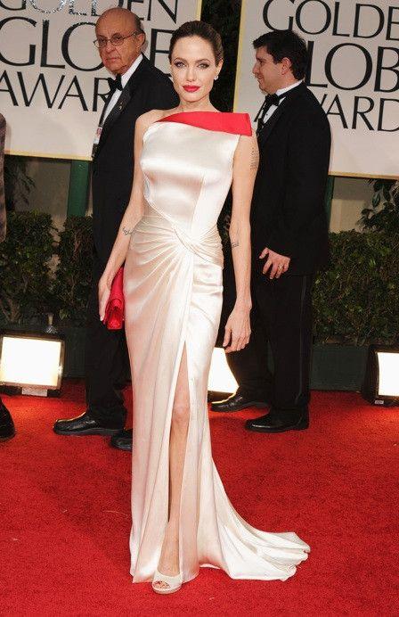 b5a1e1238504 Angelina Jolie Cream Ivory Golden Globe Evening Gown