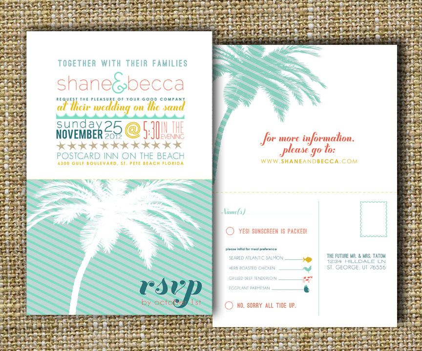 Beach Wedding Invitation Destination Palm Tree Perforated Rsvp Postcard Down By The Sea