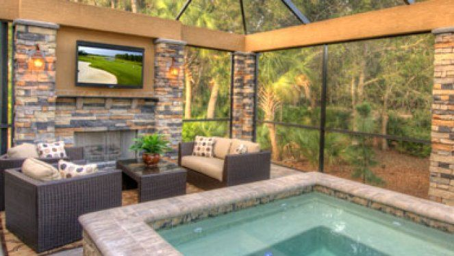 Beautiful Screened In Pool Area With Living Area Bar And