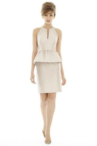 Alfred Sung style d687 #Cocktail Length Halter Neck Shirred Bridesmaid Dress # Show in Champagne #USD$89