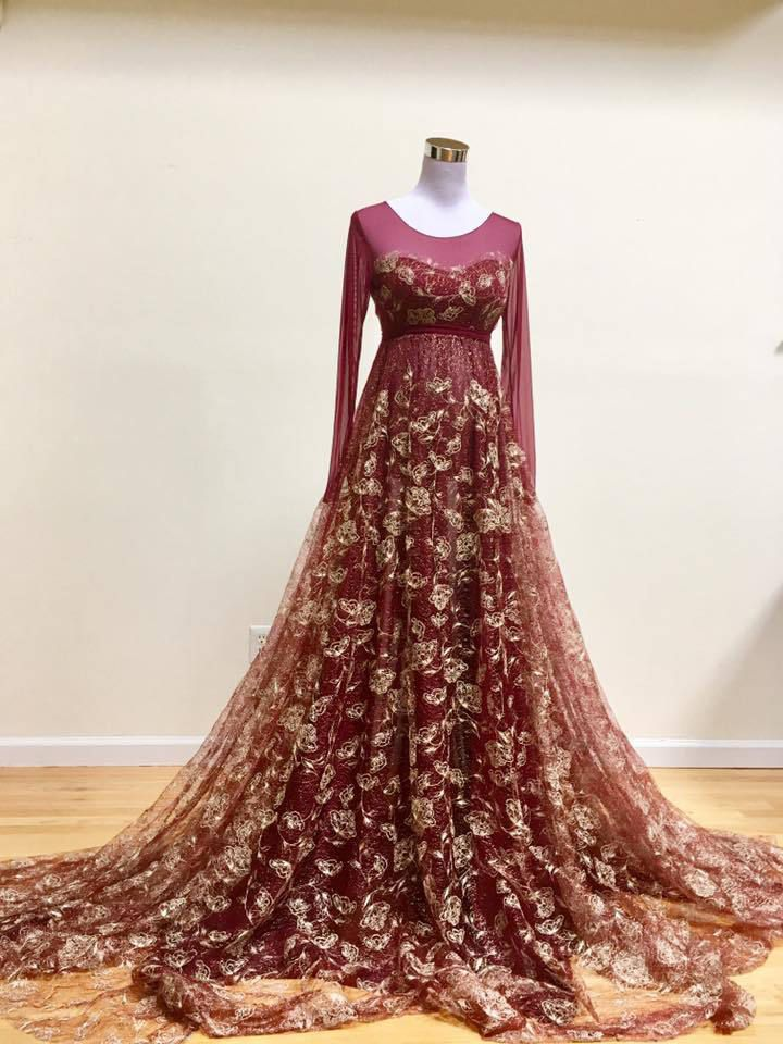 809b9b13a2a17 Burgundy and Gold Lace Detachable Overlay Maternity Gown, long sleeves,  long train, full circle, Dress for photo session, engagement picture by  SilkFairies ...