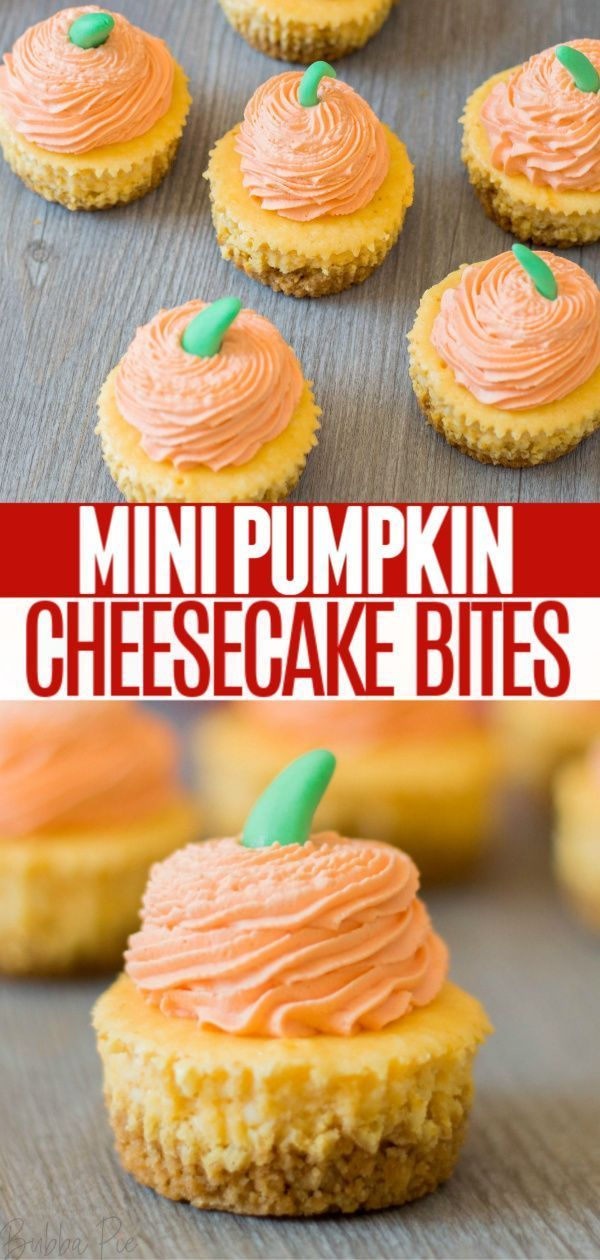These Mini Pumpkin Cheesecake Bites are a fun holiday dessert for the Fall. A