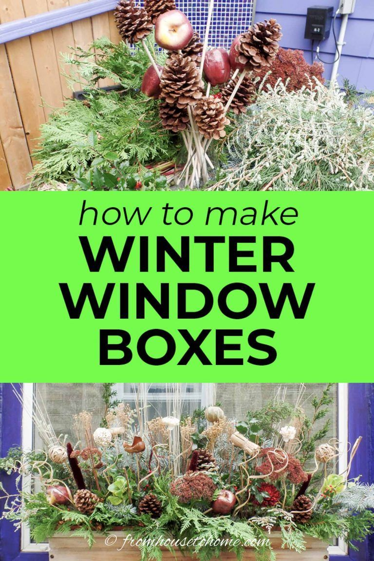 This tutorial to make winter window boxes is awesome Made with evergreen branches pine cones dried flowers and faux apples these winter planters are so easy to put togeth...