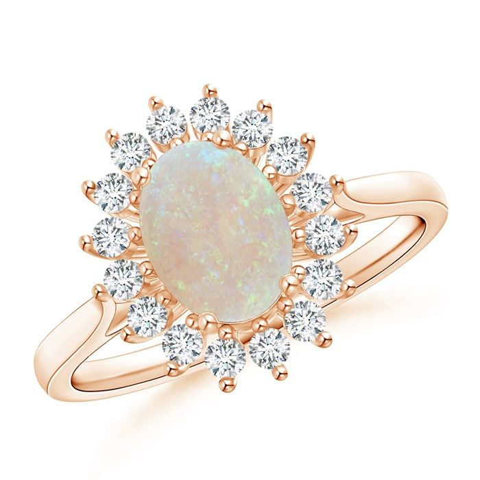 Angara Oval Flower Opal and Diamond Halo Ring in Rose Gold NMwRQl