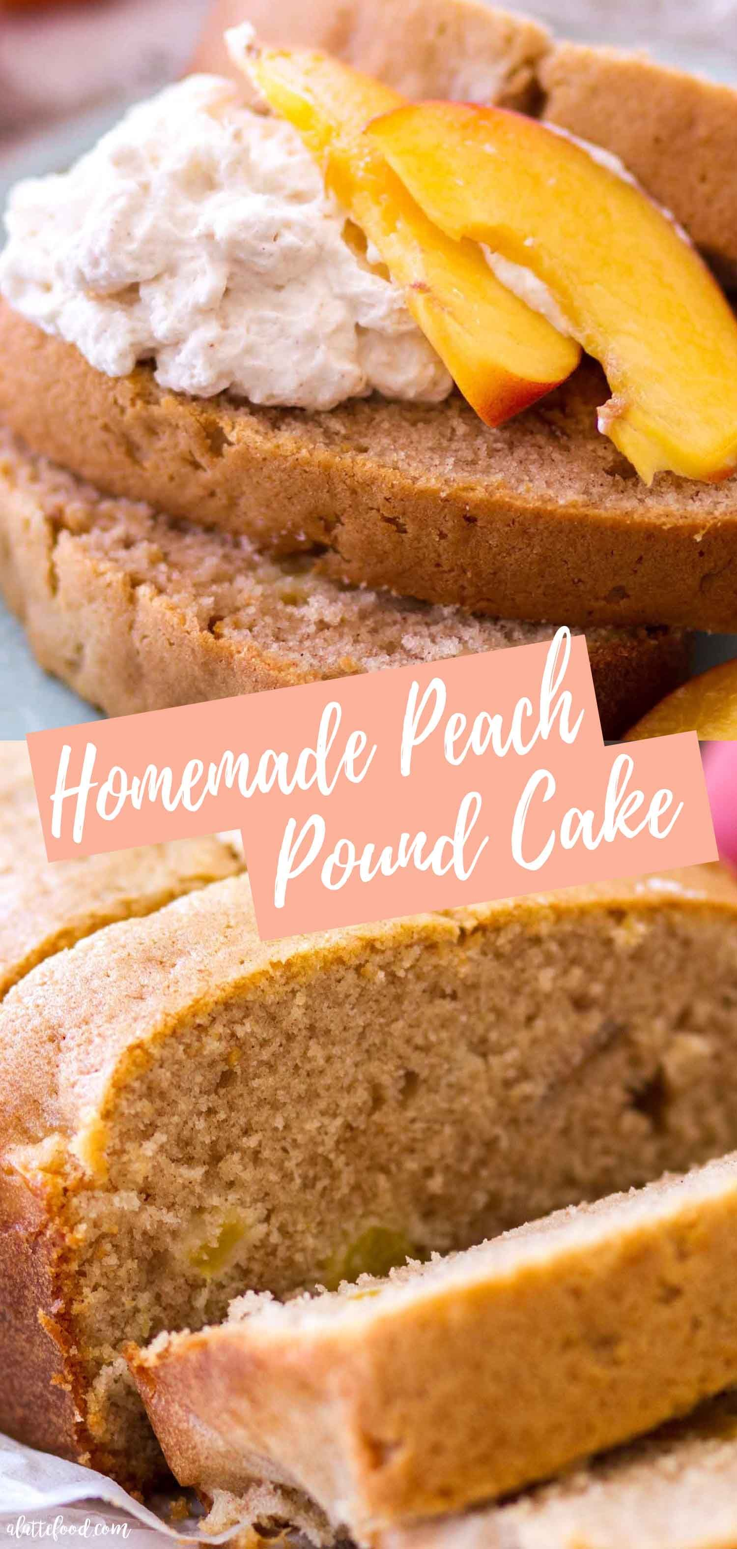 This homemade Peach Pound Cake recipe is made with fresh peaches and can be made into a loaf or in a bundt cake pan  Sour cream peach pound cake is a summer staple and is perfect when topped with whip is part of Desserts -