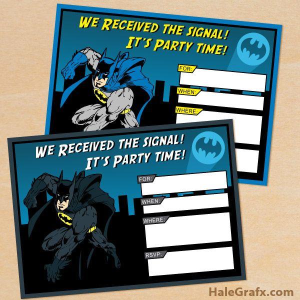 FREE Printable Batman Birthday Invitation Set ( Free Printable - birthday invitation designs free