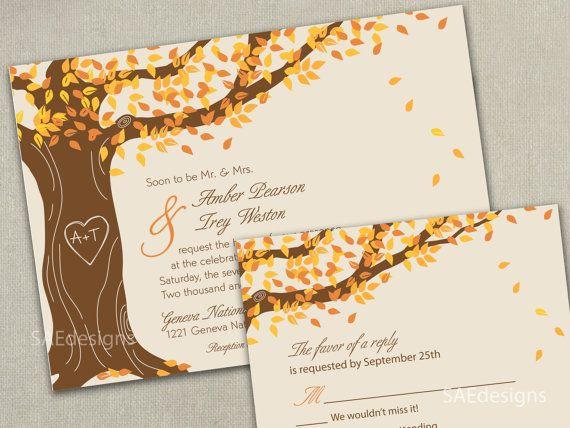 autumn fall tree wedding invitation invitations invite invites