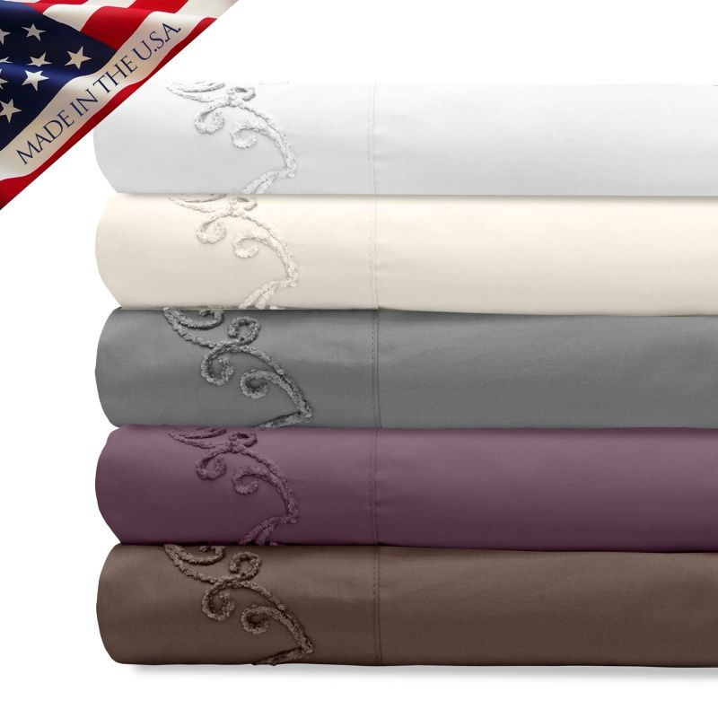 Supreme Sateen 800TC Sheet Set with Chenille Scroll Embroidered Design