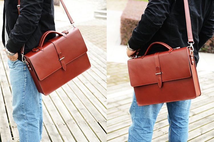 Custom Handmade Genuine Leather Briefcase, Messenger Bag, Laptop Bag, Men's Handbag