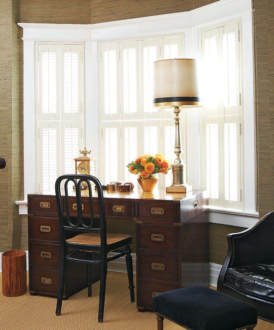 """Pinner says, """"I'm obsessed w/ mini shutters - so hard to find.  This desk was my Father's."""""""