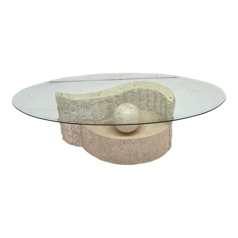 1980 S Vintage Regency Mactan Stone Glass Coffee Table In 2021 Stone Coffee Table Glass Coffee Table Coffee Table
