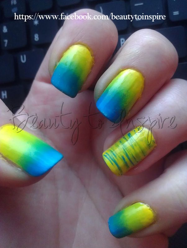 Neon gradient and fan brush summer blue green yellow nail art nails ...