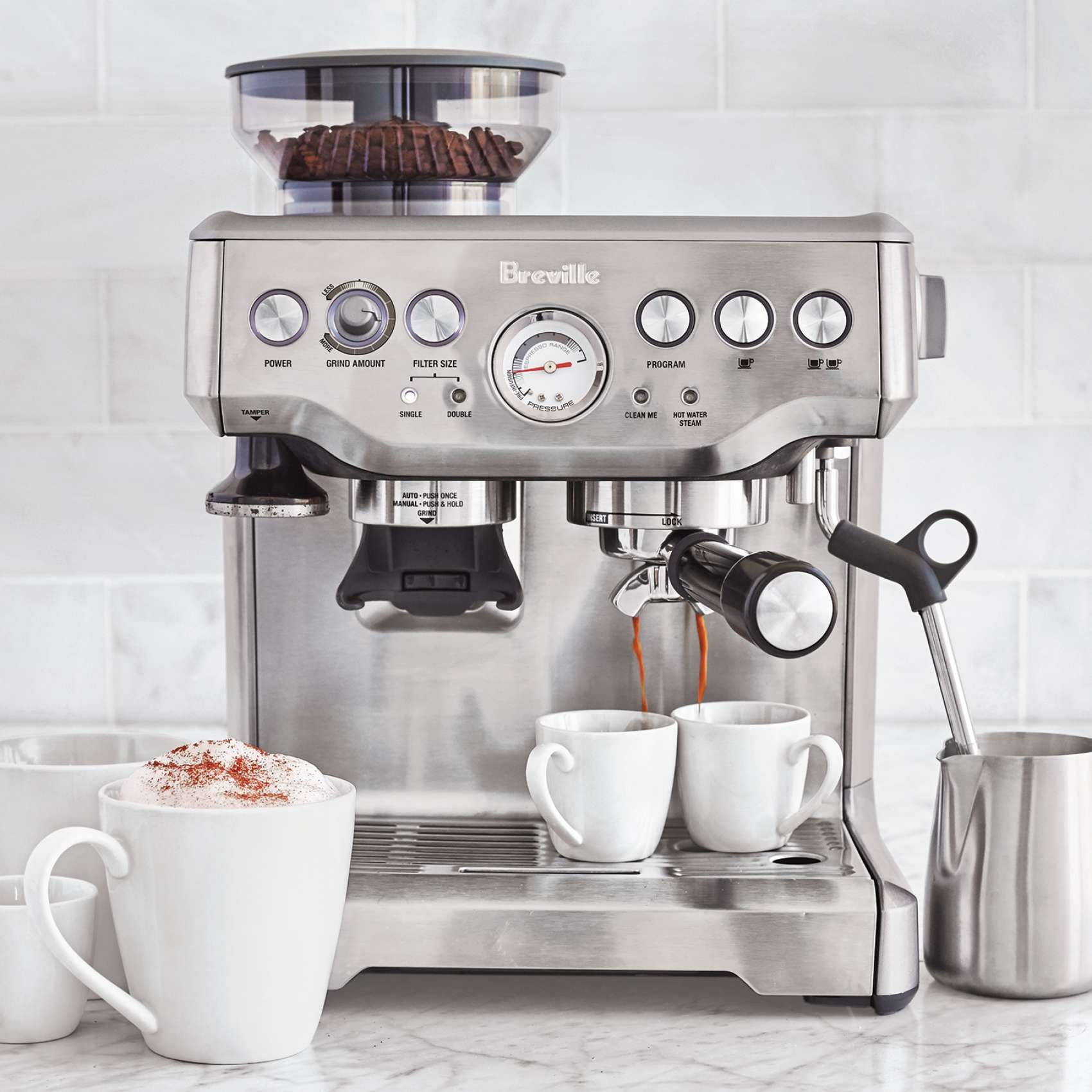 A Great Gift For The Coffee Lover In Your Life Breville Barista Express Espresso Machine Breville Espresso Machine Cappuccino Machine Home Espresso Machine