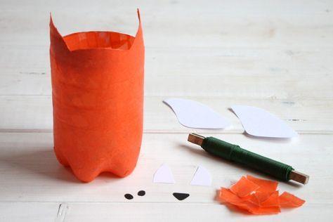 Upcycling-Idee: Fuchs-Laterne aus PET Flasche basteln - Lavendelblog #laternebasteln