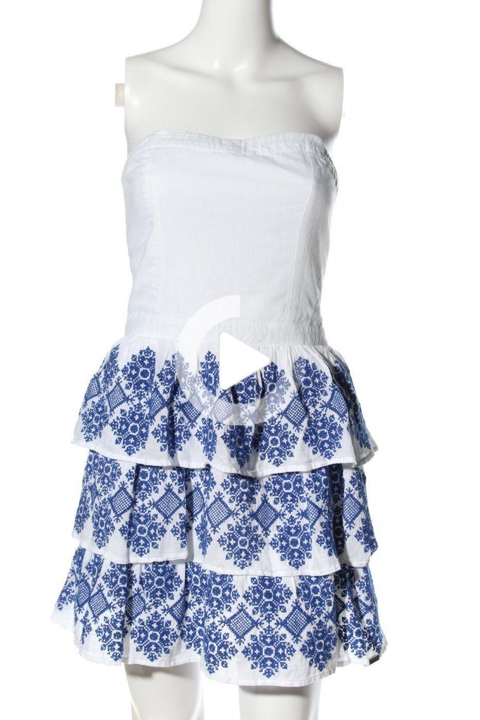 superdry bandeaukleid weiß-blau motivdruck casual-look