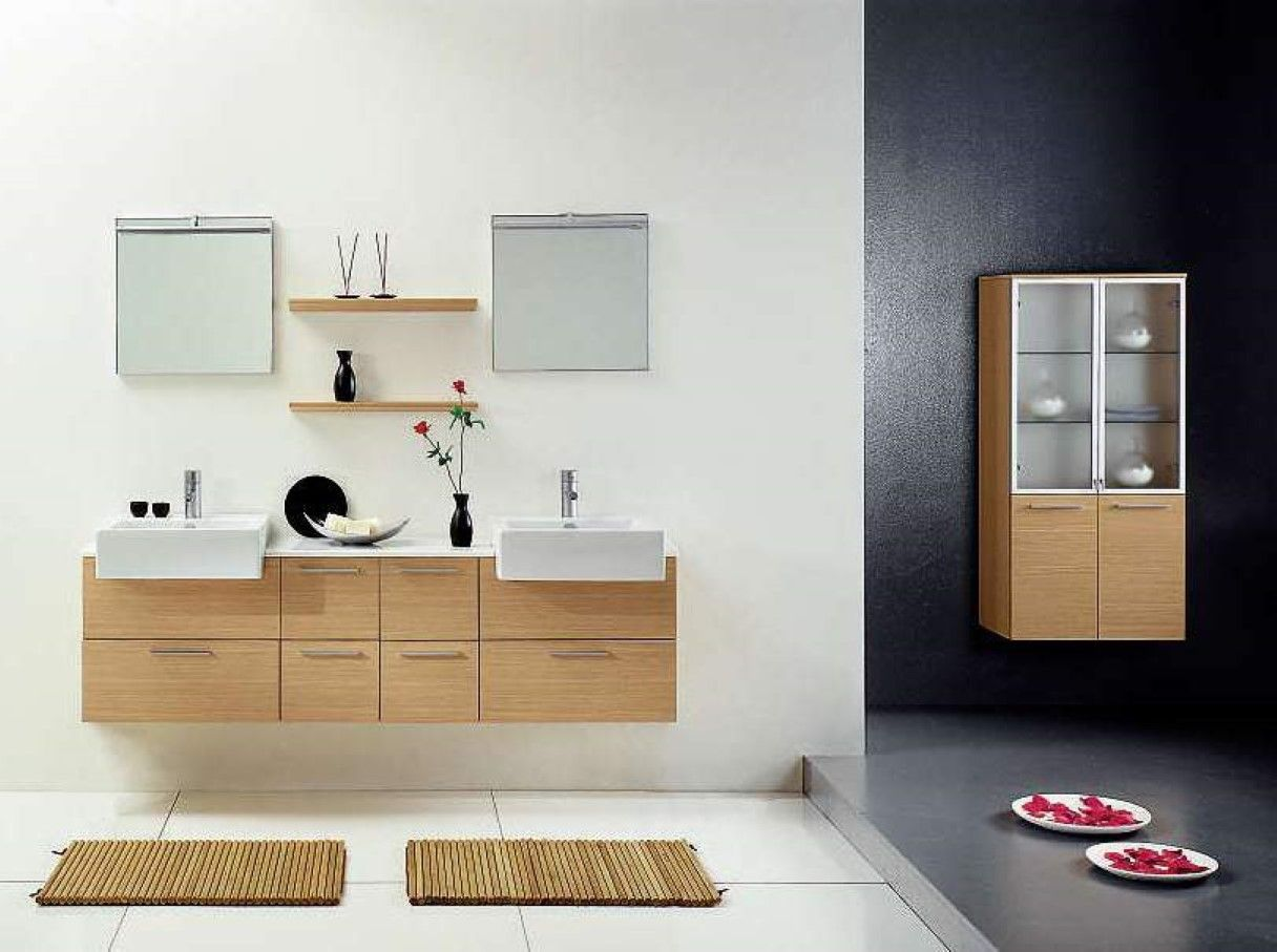 Chic square sinks and small wall mirrors idea feat shallow shelf