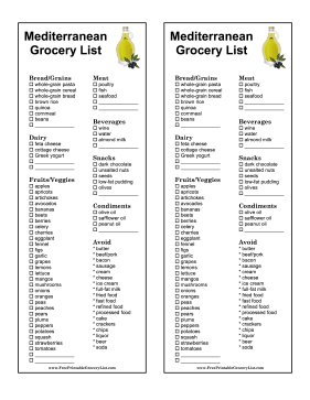 The Mediterranean Diet In This Printable Grocery List Is Touted As