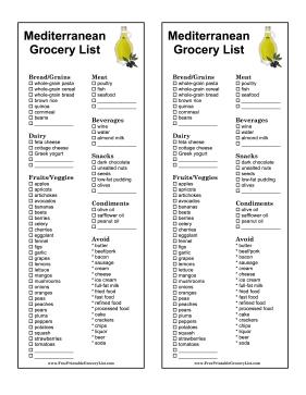 mediterranean diet list of food recipes