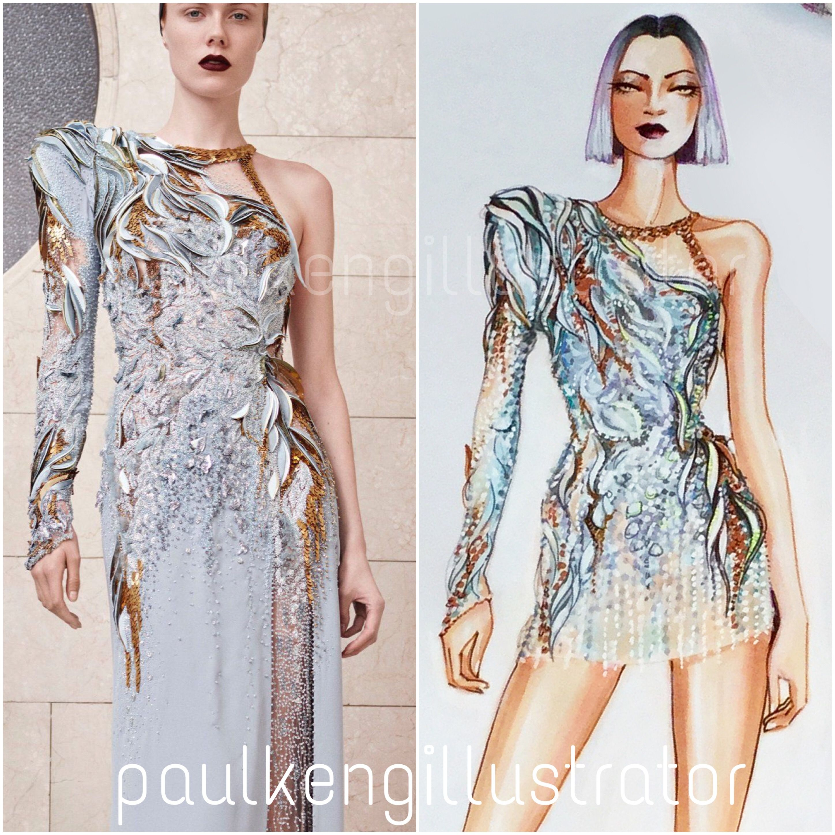 Katy Perry Roter Teppich Atelier Versace Fall 2017 Couture Fashion Illustration