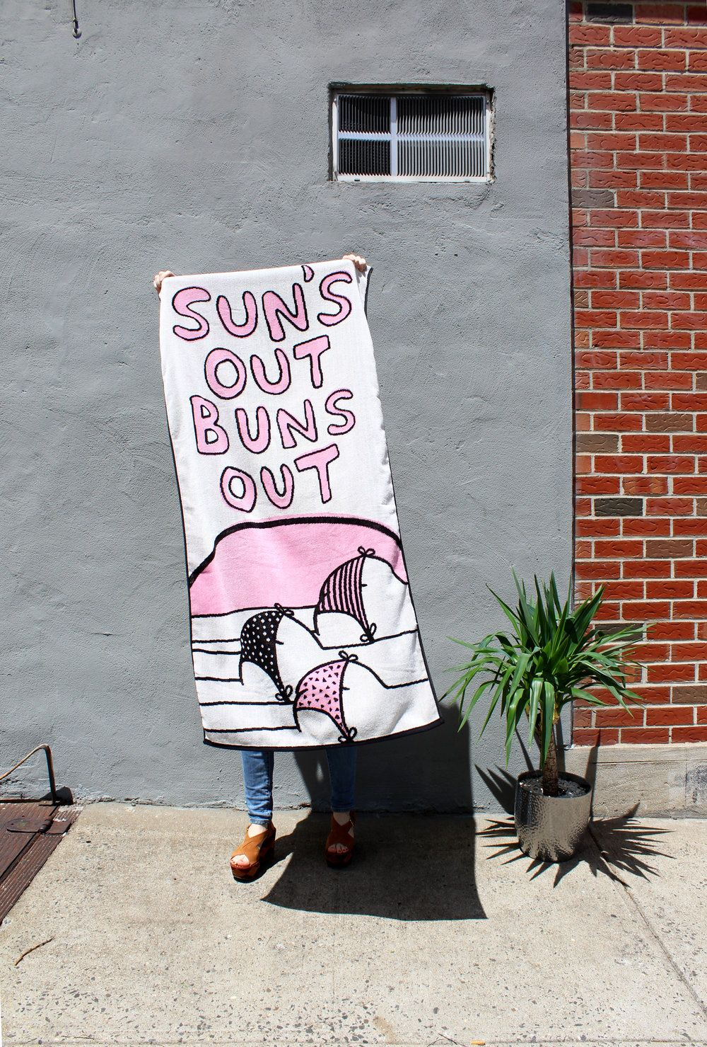 Sun S Out Buns Out Woven Beach Towel Made In Usa Oversized Beach