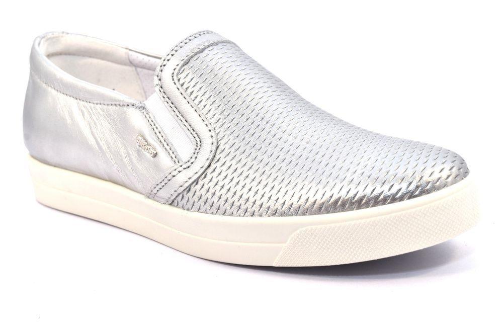 new product ed53e 87b0c IGI   CO 77903 00 CAPRA LAMINATA ALLUMINIO Argento Slip on Donna Sneakers  Bianco