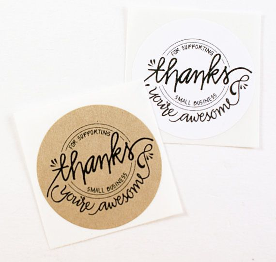Stickers brown kraft circle round thanks for supporting small business hand lettered sticker