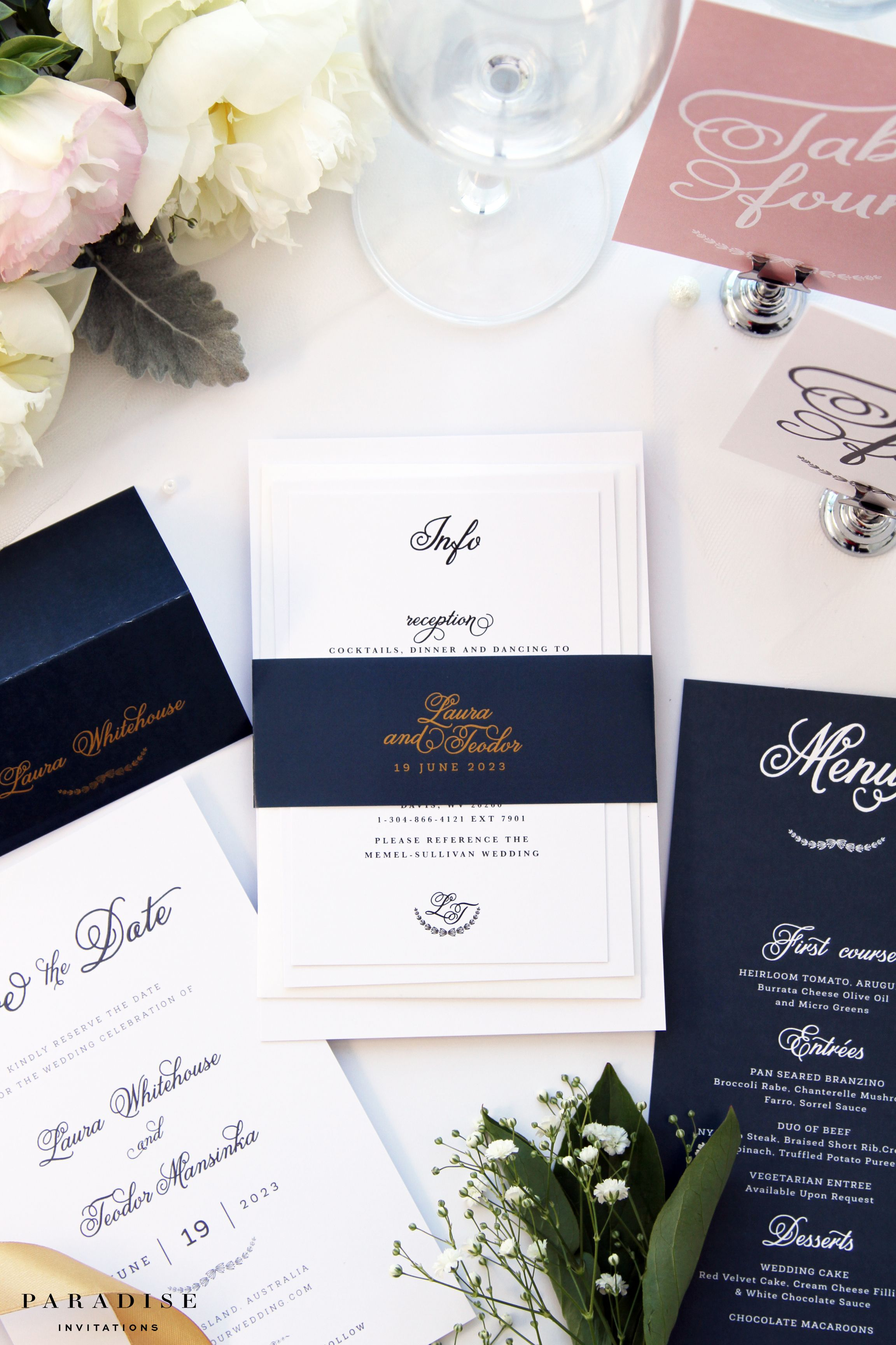 NAVY and Champagne Wedding Invitation Sets Modern Wedding
