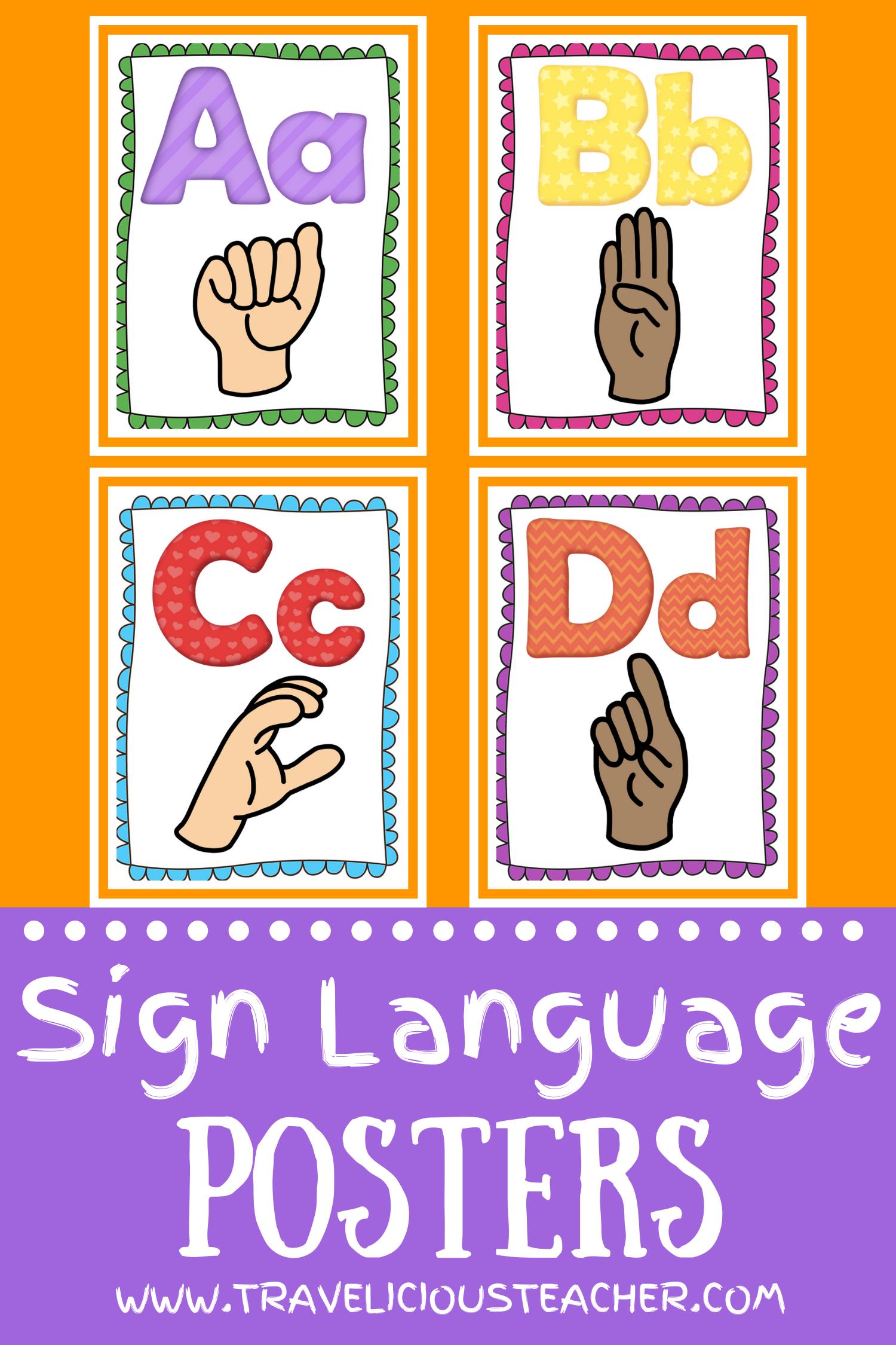 Sign Language Alphabet Posters Multicultural Black