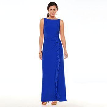 Chaps Ruffled Full-Length Dress - Women's