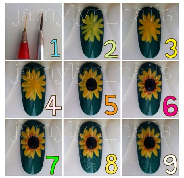 The Artistic Bibliophile: 26 Summer Nail Art Ideas - Http://www.manictalons.com/2014/08/pretty-little-sunflowers-with