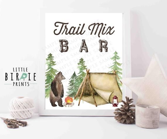 Trail mix bar sign One Happy Camper First Birthday Decorations sign party favor  bar Camping Hunting