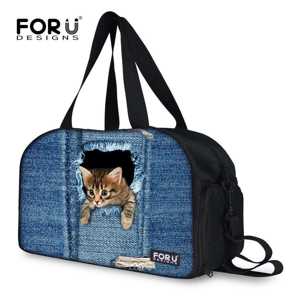 FORUDESIGNS Cute Cat Dog Print Female Duffle Bag Women Luggage ...