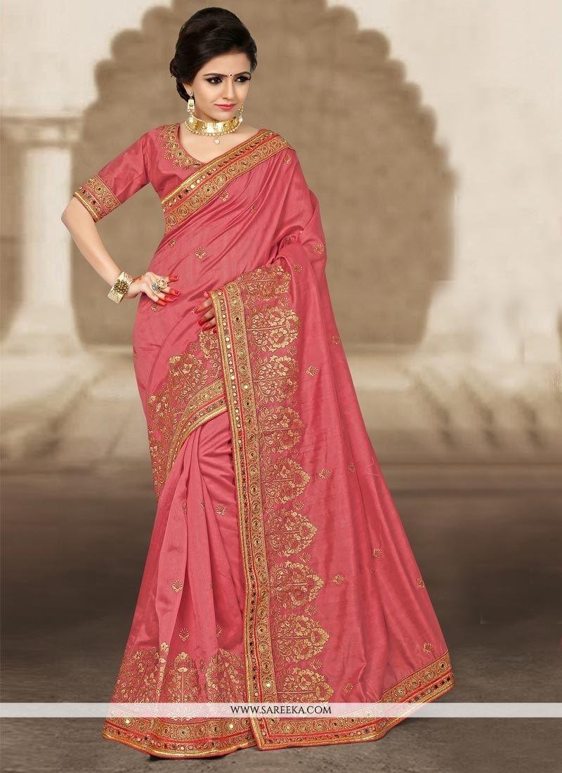 Bhagalpuri silk rose pink designer traditional saree traditional