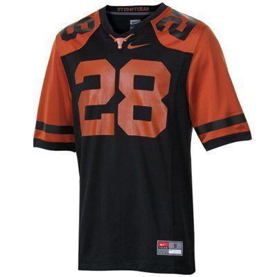 Nike Texas Longhorns #28 Football Practice Game Jersey - Black/Burnt Orange