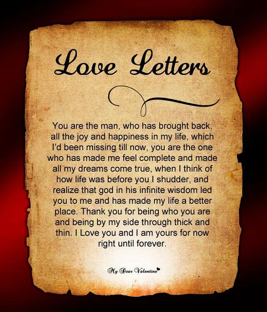 a beautiful love letter for him